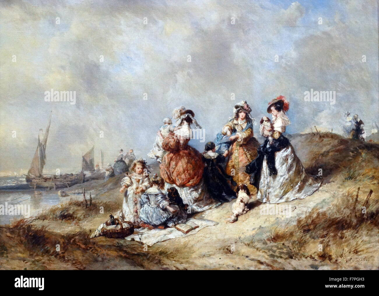 Painting titled 'A Promenade by the Sea' by Eugène Isabey (1804-1886) French painter, draftsman, and - Stock Image