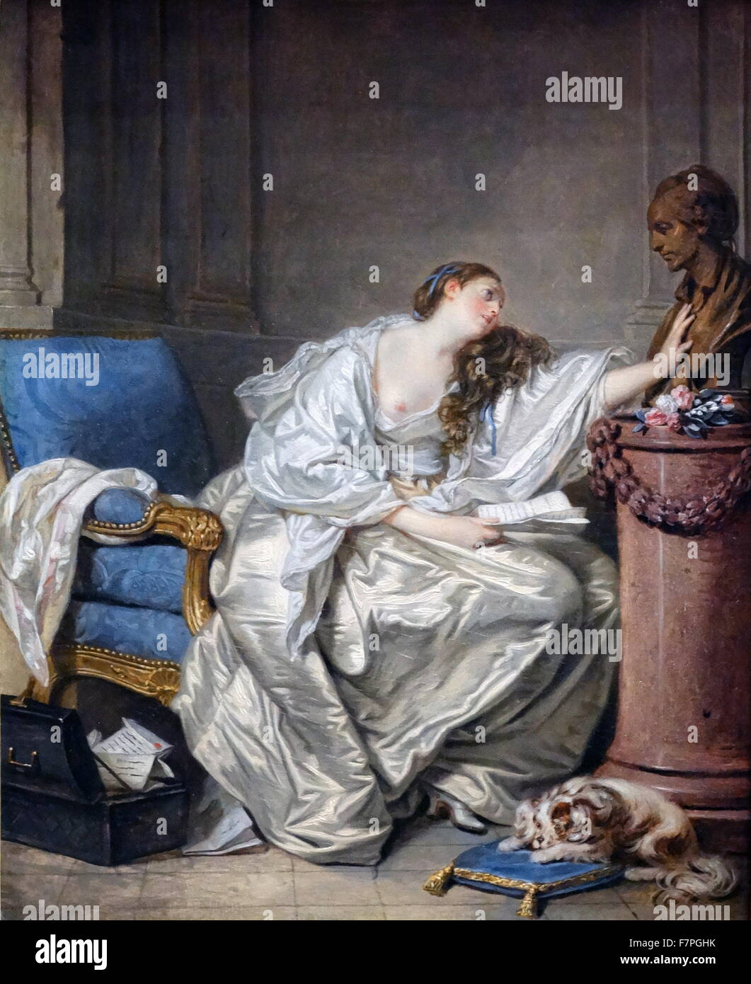 The Inconsolable Widow by Jean-Baptiste Greuze - Stock Image