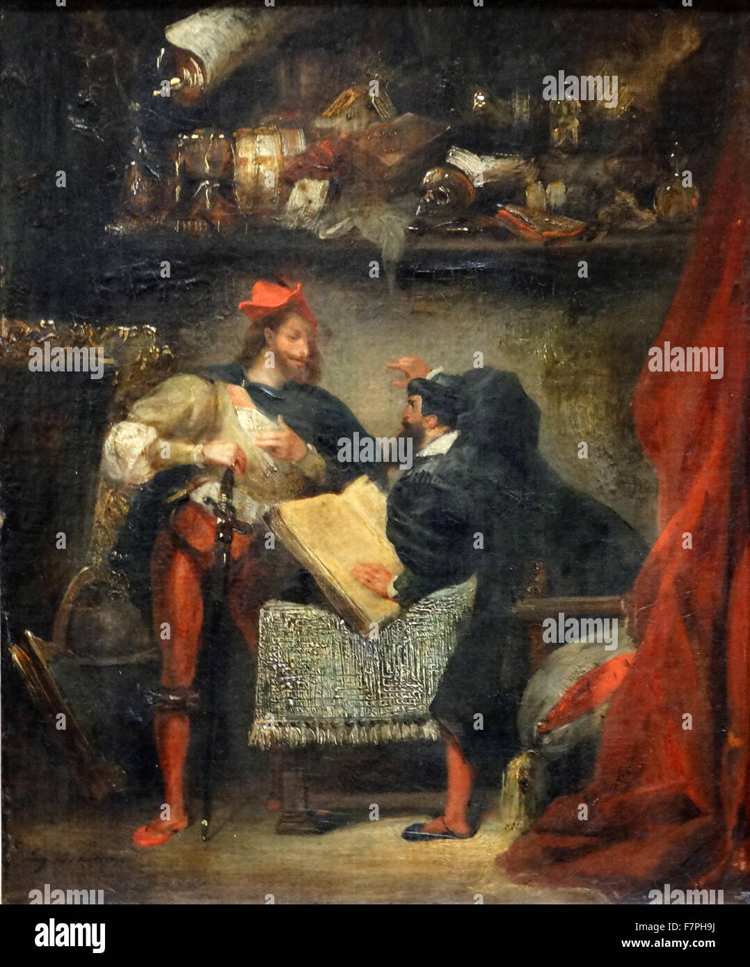 Painting titled 'Faust and Mephistopheles' by Eugène Delacroix (1798-1863) French Romantic artist. - Stock Image