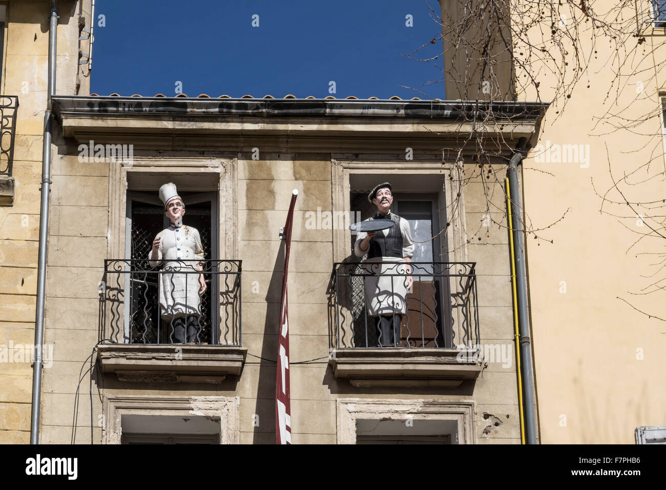 Cook and Waiter sculptures at Cours Mirabeau, Aix en Provence. Provence, France - Stock Image