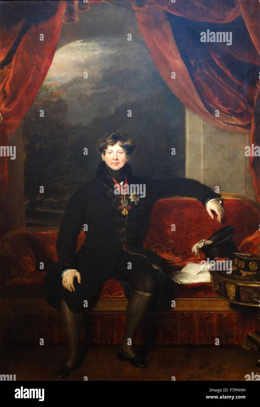 Portrait of King George IV by Thomas Lawrence (1769-1830) English portrait painter and president of the Royal Academy. - Stock Image