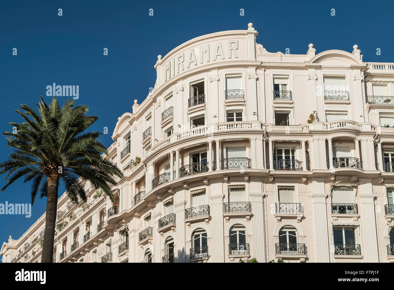 Mirarmar Hotel, Facade, Palm tree, Cannes, Cote d'Azur, France, - Stock Image