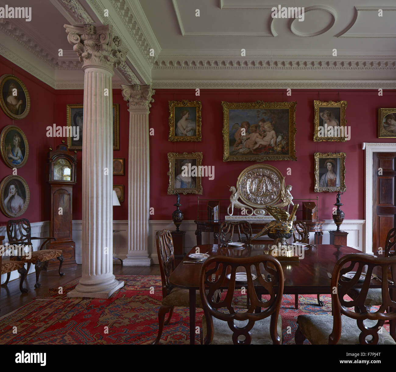 The Little Dining Room At Stourhead, Wiltshire. Stourhead House Contains A  Unique Regency Library, Chippendale Furniture And Inspirational Paintings.