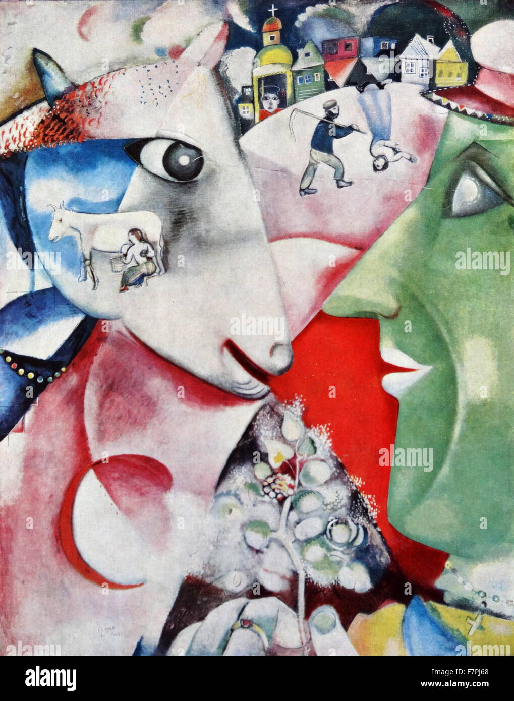 Painting titled 'I and the Village' by Marc Chagall (1887 ...