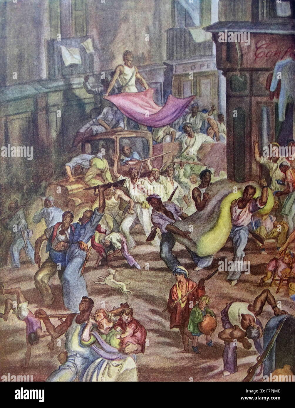 Illustration by Carlos Saenz De Tejada showing a drunken mob of anarchist looting homes in a Spanish city during - Stock Image