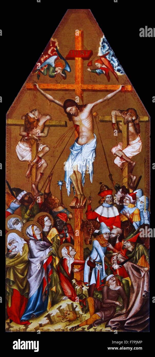 Painting titled 'The Crucifixion' by Bohemian Master. Dated 14th Century - Stock Image