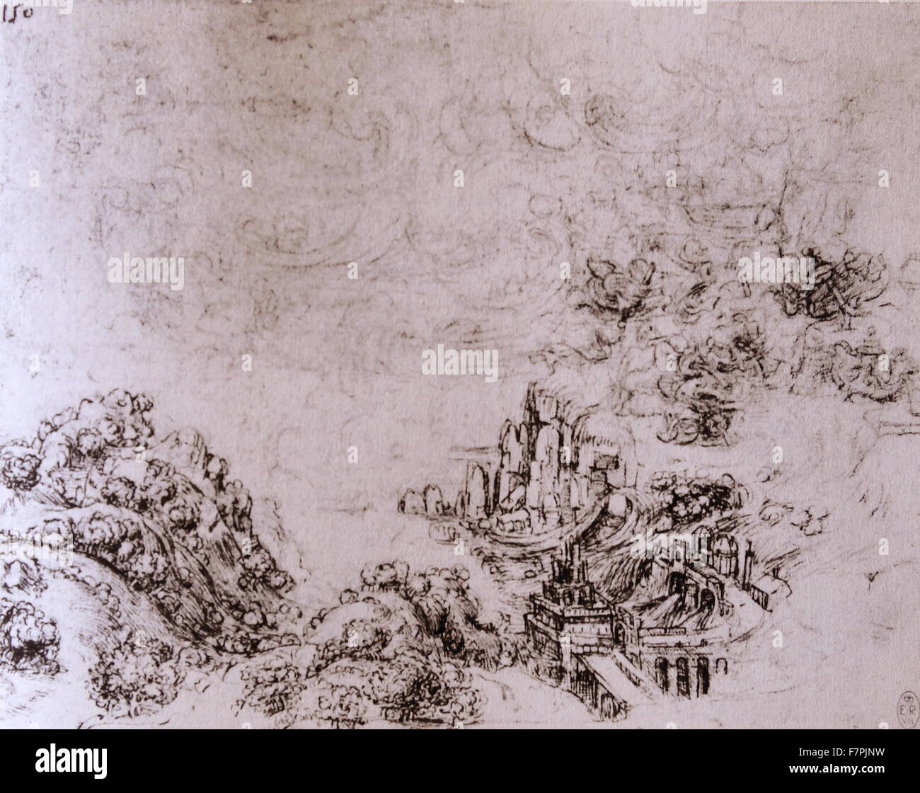 Coastal Landscape in a Storm by Leonardo Da Vinci (1452-1519) Italian polymath whose areas of interest included - Stock Image