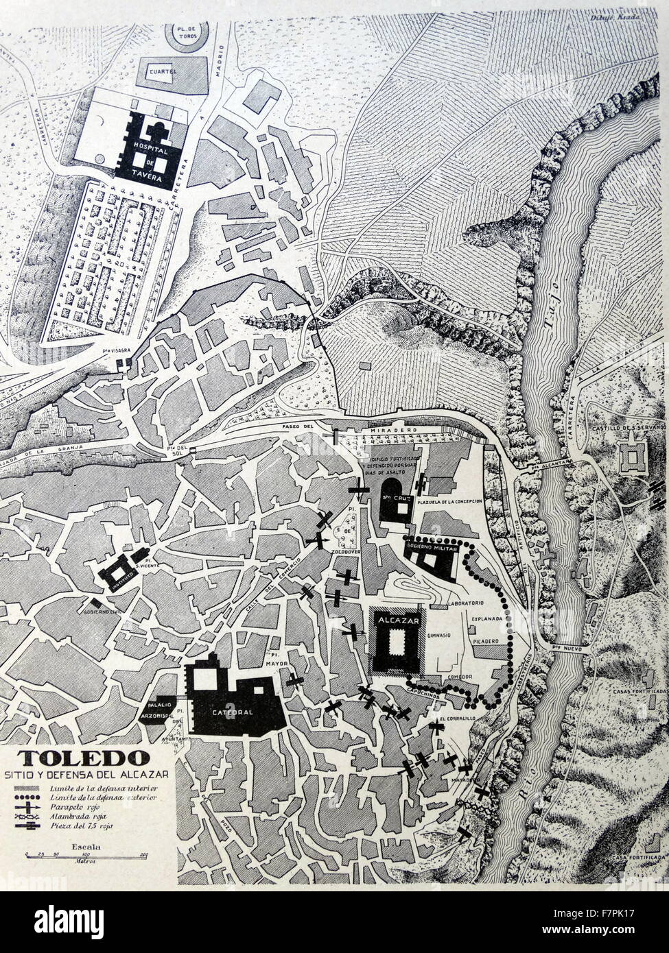 illustrated map of Toledo, Spain. Dated 1937 - Stock Image