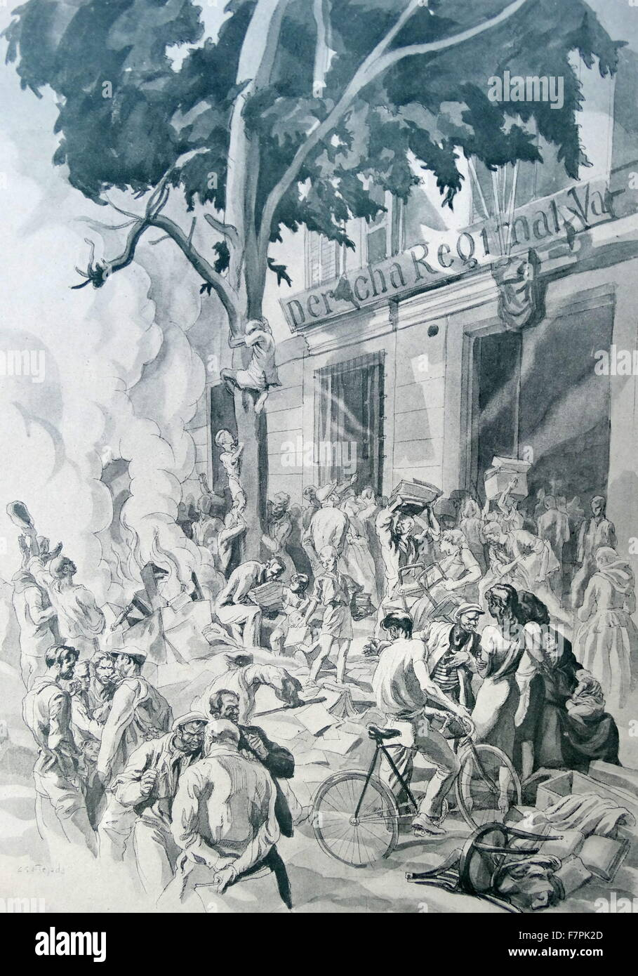 Propaganda illustration by Carlos Saenz De Tejada depicting looting by anarchist forces of a regional government - Stock Image