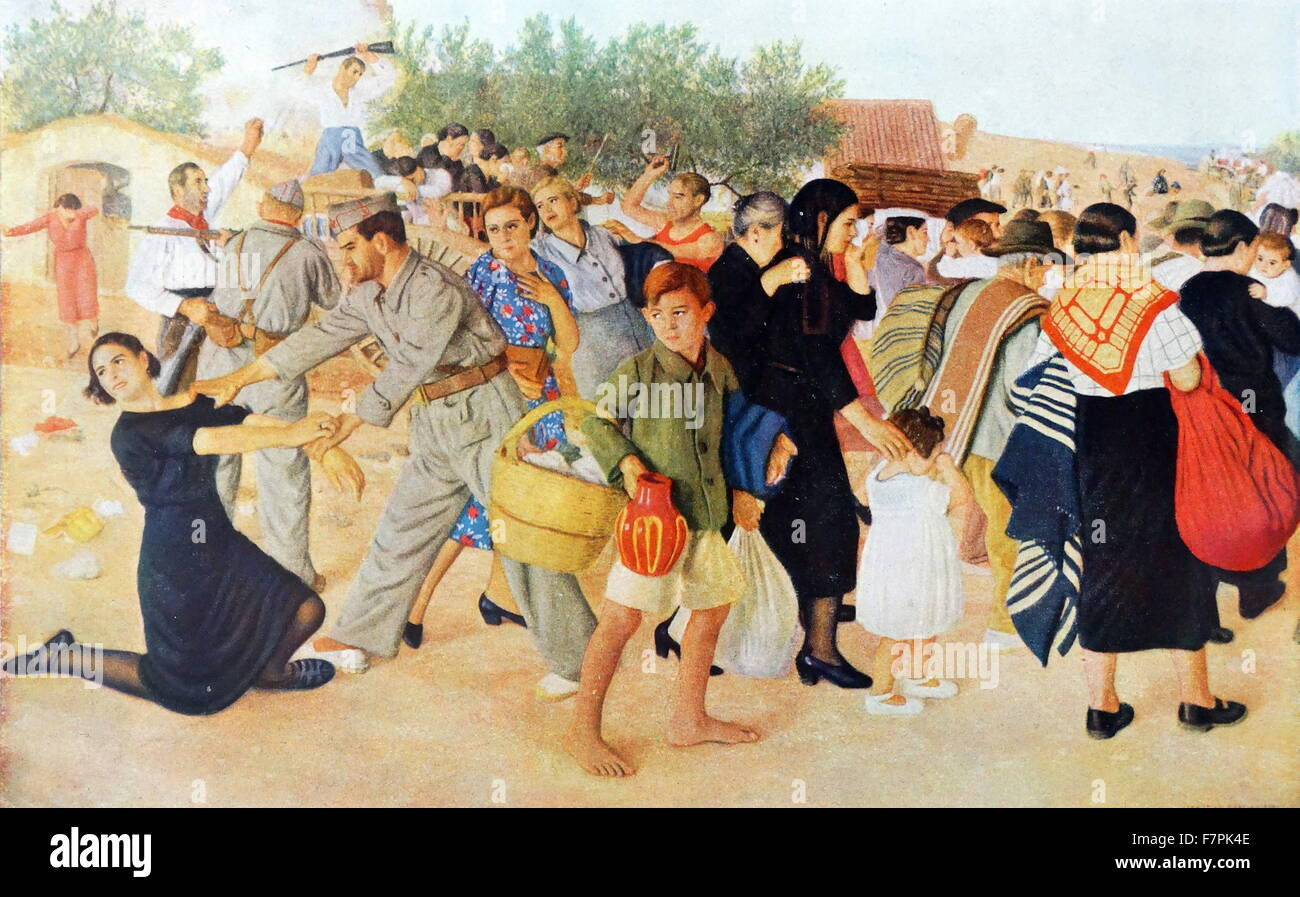 Nationalist soldiers escort civilian refugees. Spanish Civil War illustration 1938 - Stock Image