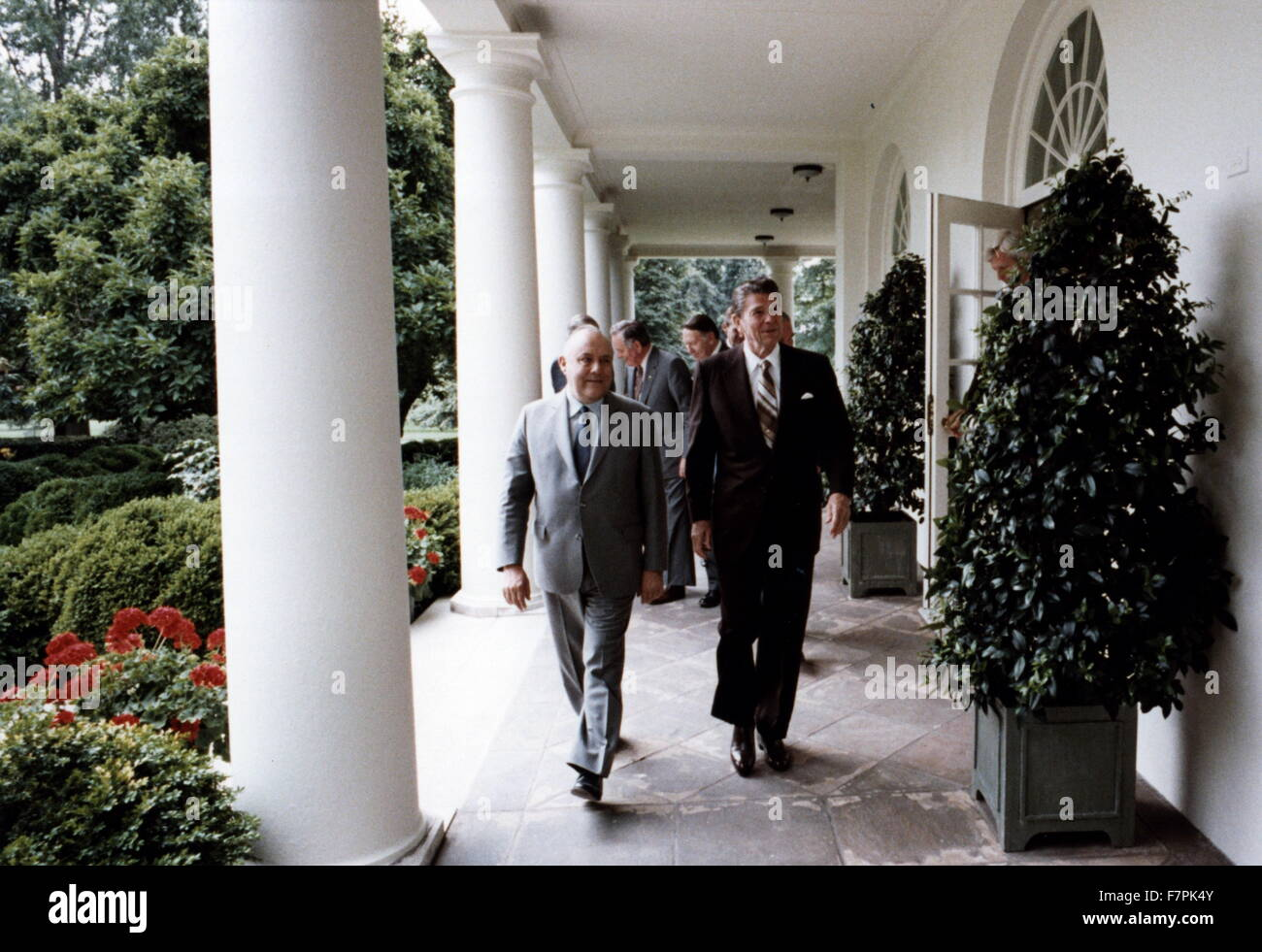 Colour photograph of President Ronald Reagan (1911-2004) walking outside of the White House. Dated 1981 - Stock Image
