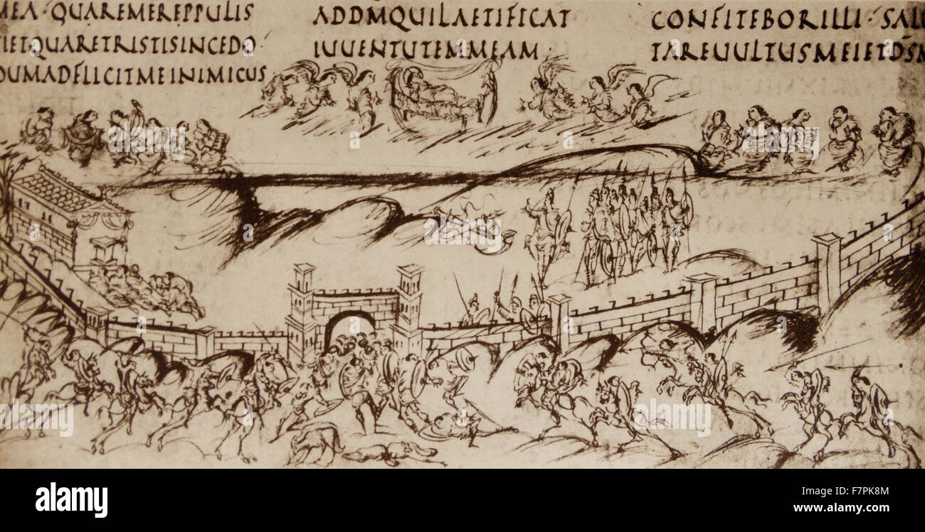 Illustration to Psalm 44, from the Utrecht Psalter from Carolingian Manuscript. Dated 9th Century - Stock Image