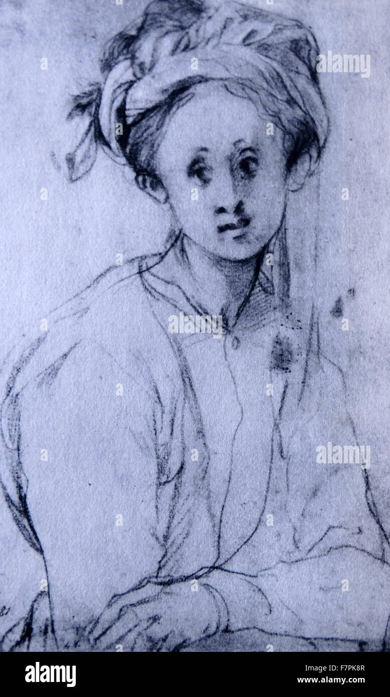 Chalk drawing titled 'Study of a Young Girl' by Pontormo (1494-1557) Italian Mannerist painter and portraitist - Stock Image