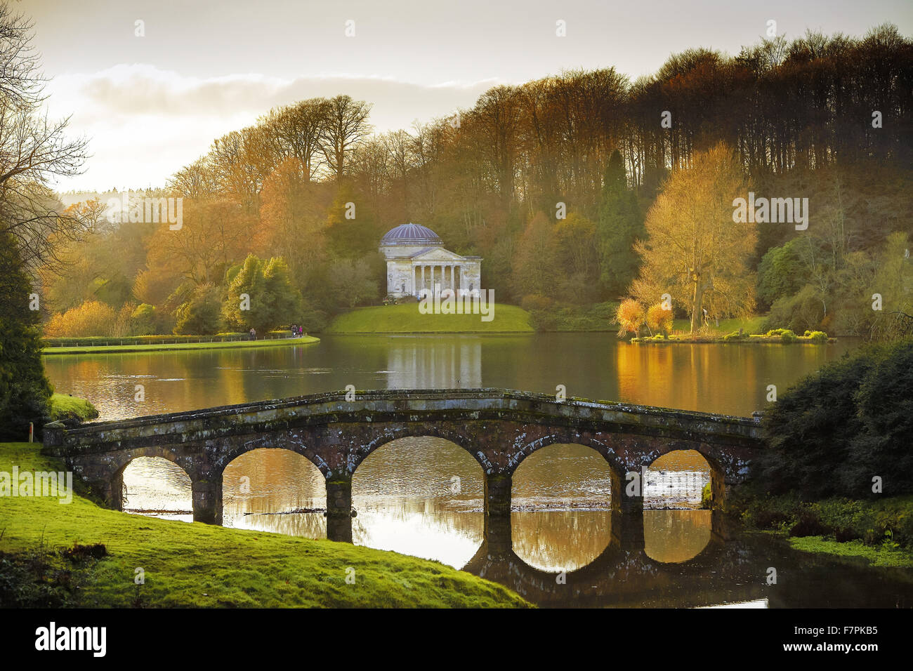 The Pantheon seen from across the lake in the winter at Stourhead, Wiltshire. When it first opened in 1740 Stourhead - Stock Image