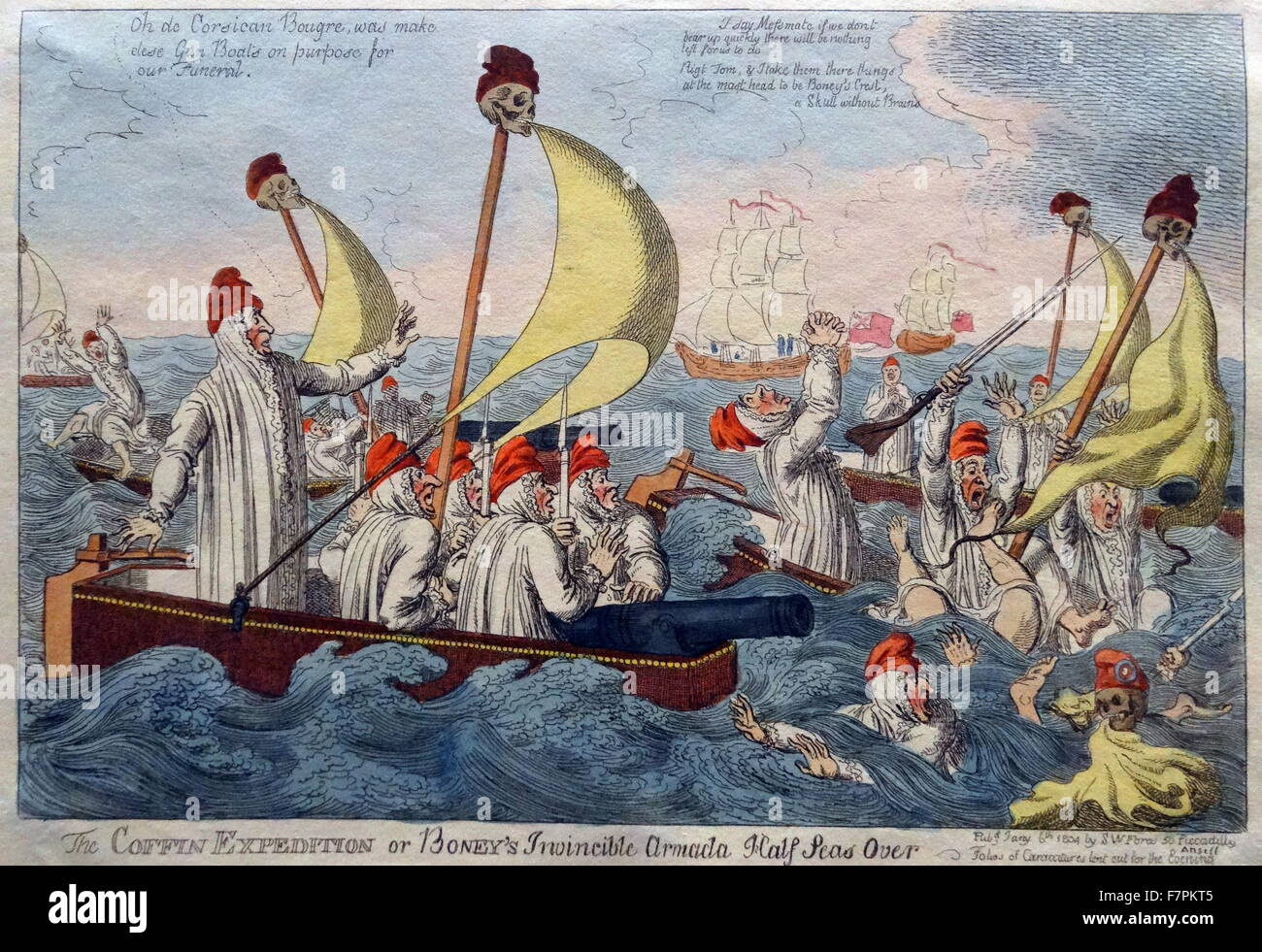 Hand-coloured etching titled 'The Coffin Expedition' by Charles Williams (1797-1830) British printmaker. - Stock Image
