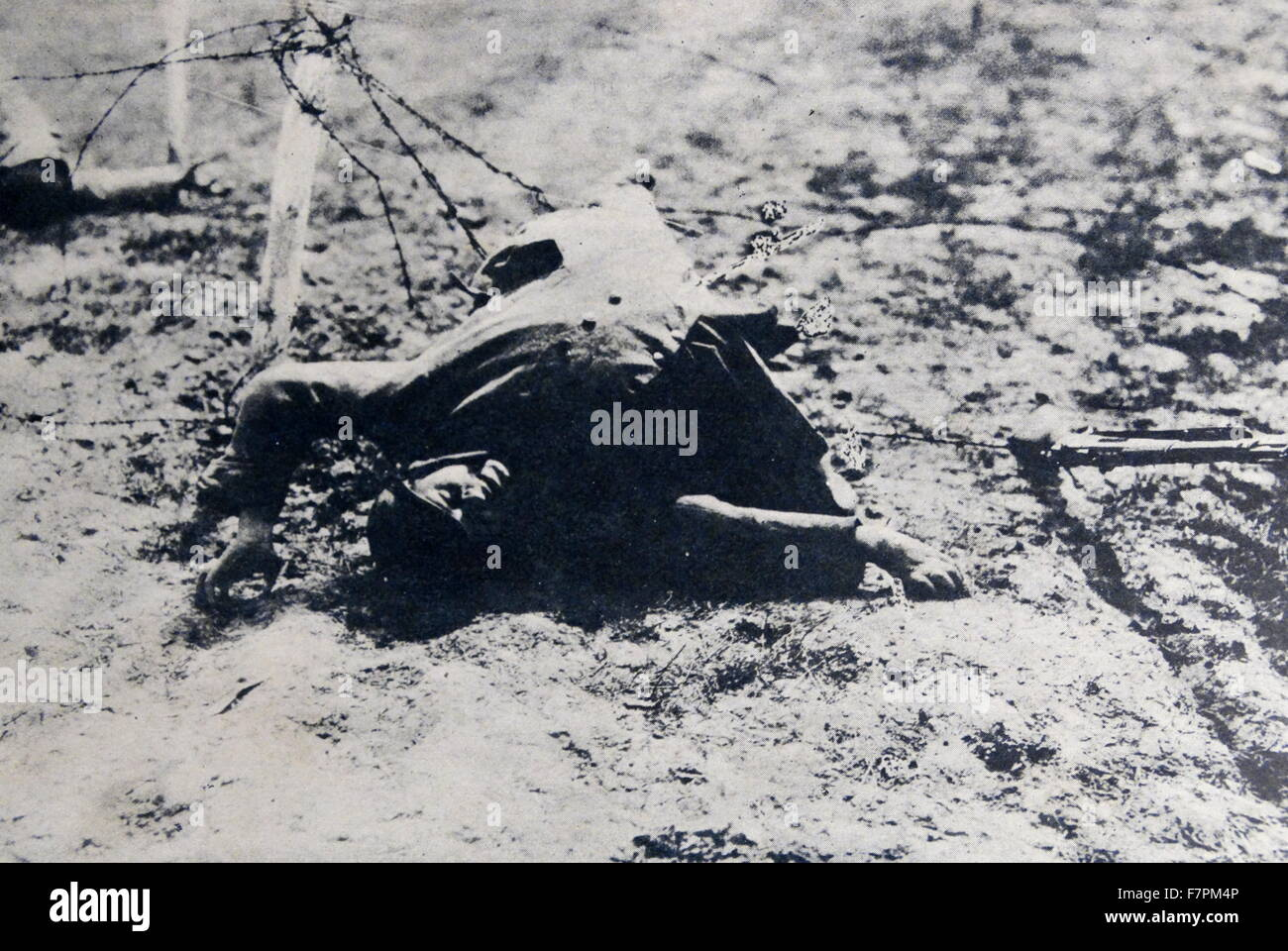 Body of a French soldier killed in world war one 1915 - Stock Image