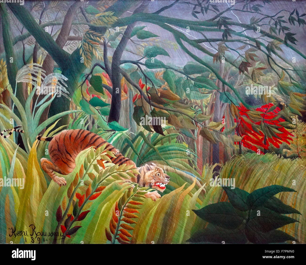 Painting titled 'Surprised!' by Henri Rousseau (1844-1910) French Post-Impressionist painter in the Naïve - Stock Image