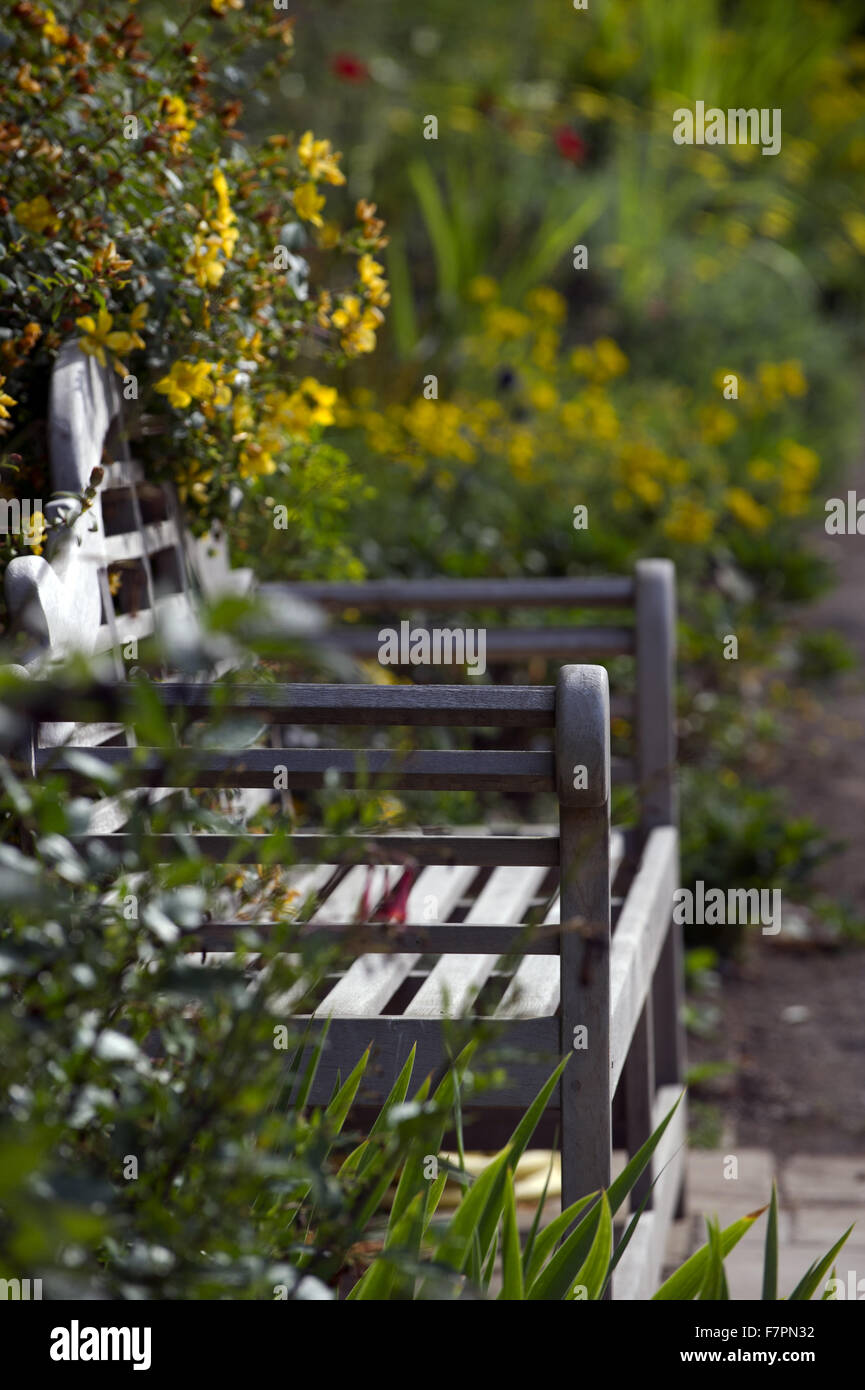 A bench at Bodnant Garden, Clwyd, Wales. Created by five generations of one family, Bodnant sits perfectly within Stock Photo