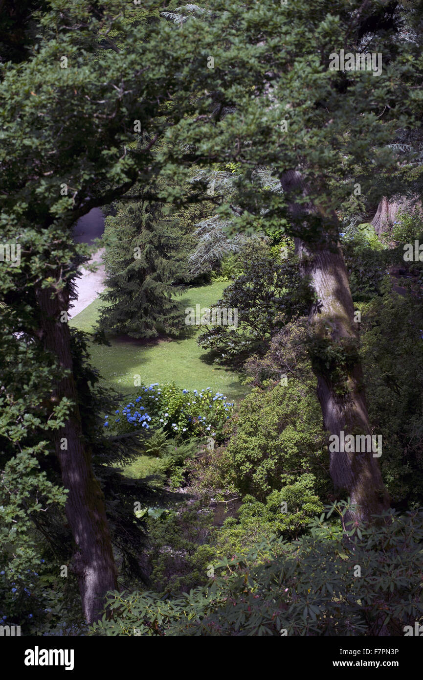 Overhead view at Bodnant Garden, Clwyd, Wales. Created by five generations of one family, Bodnant sits perfectly - Stock Image