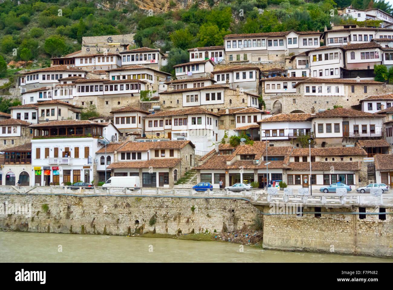 Hillside houses,from Ottoman period, riverside Osum, Berat, Albania - Stock Image