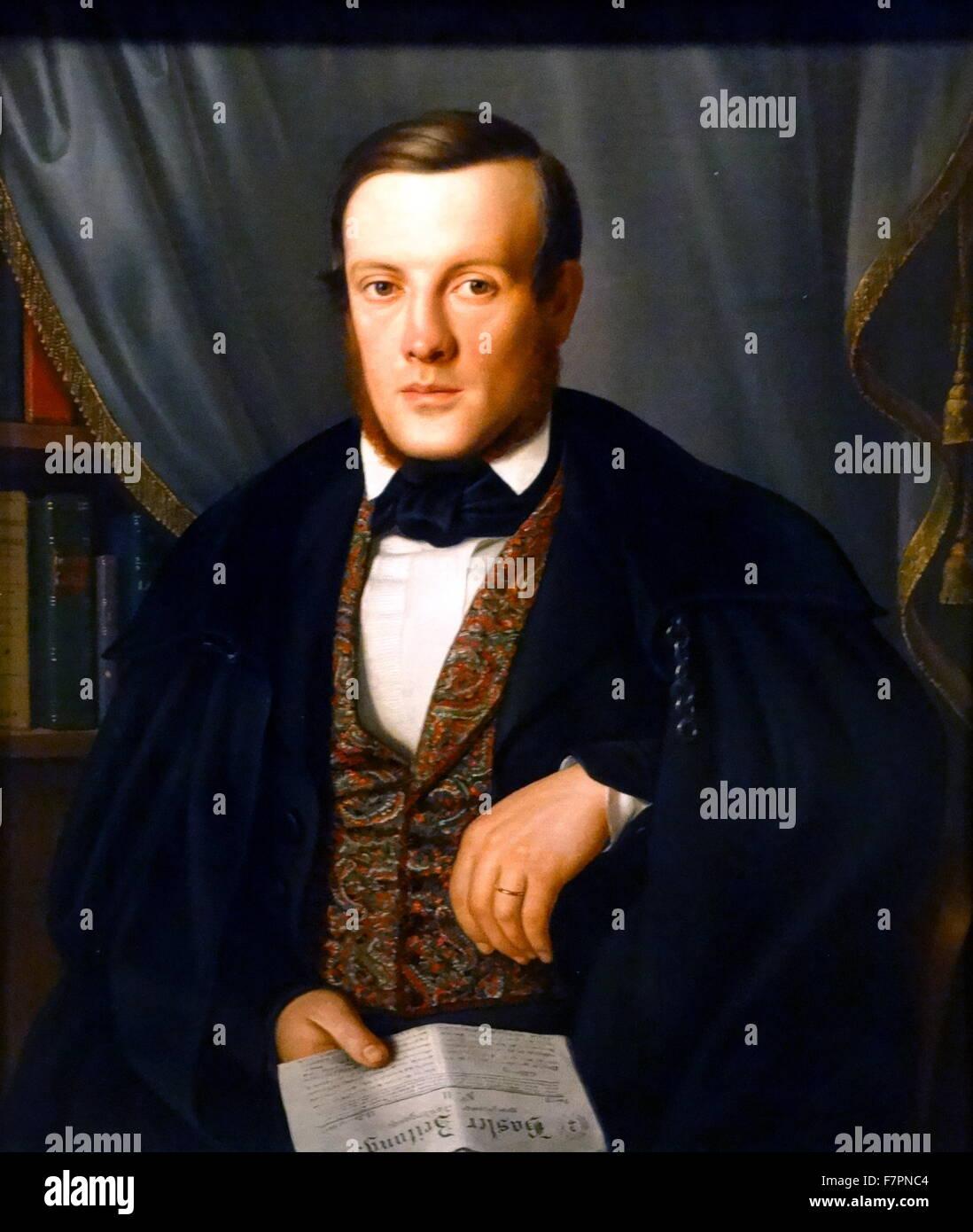 Louis de Wette, Physician of Basel' by Frau de Wette, 1843. German, oil on canvas. De Wette was medical officer - Stock Image