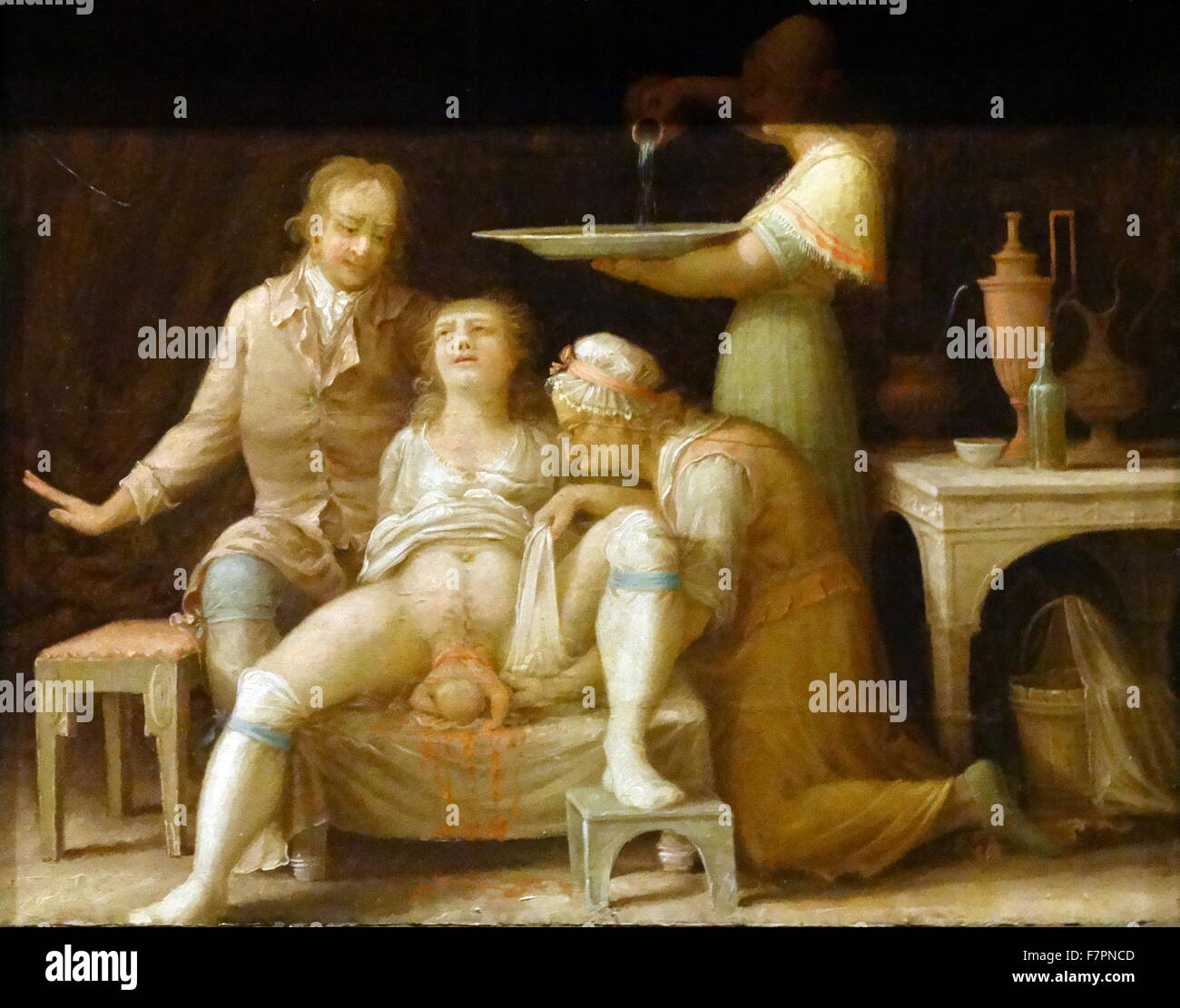 Oil Painting of a Birth Scene', oil on paper, France, 1800. Painting shows a caricature of a midwife attending - Stock Image