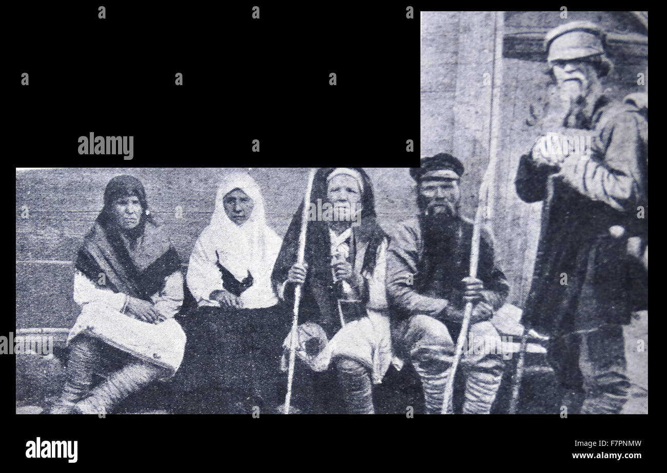 Photograph of Polish peasants and other natives of Poland. Dated 19th Century - Stock Image