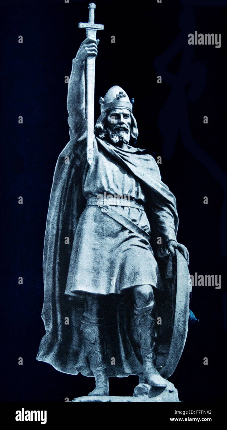Antique print of the statue of King Alfred the Great (849-899) Alfred successfully defended his kingdom against - Stock Image