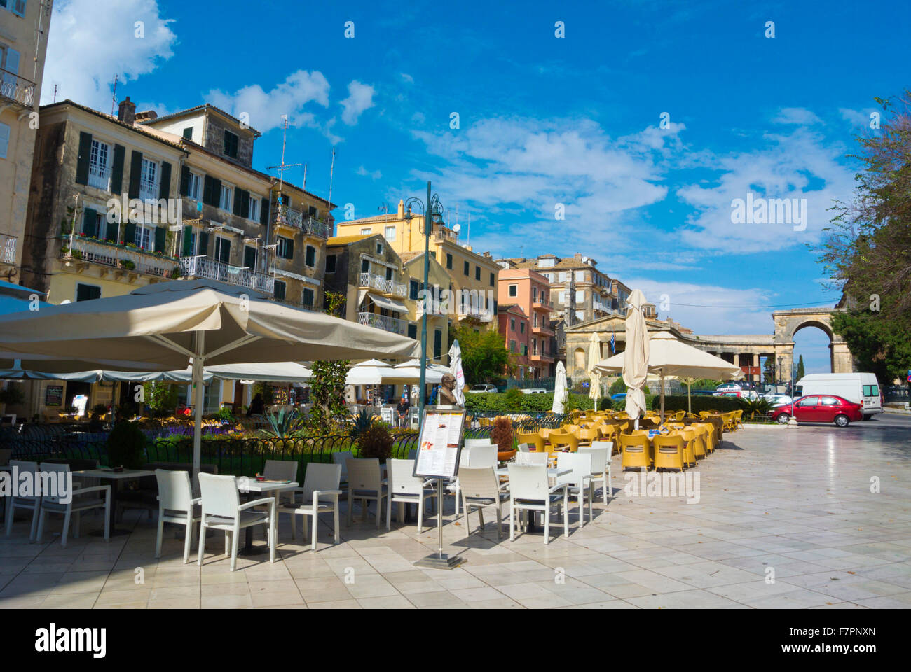 Restaurant terraces, Kapodistriou street, Old town, Corfu, Ionian islands, Greece - Stock Image