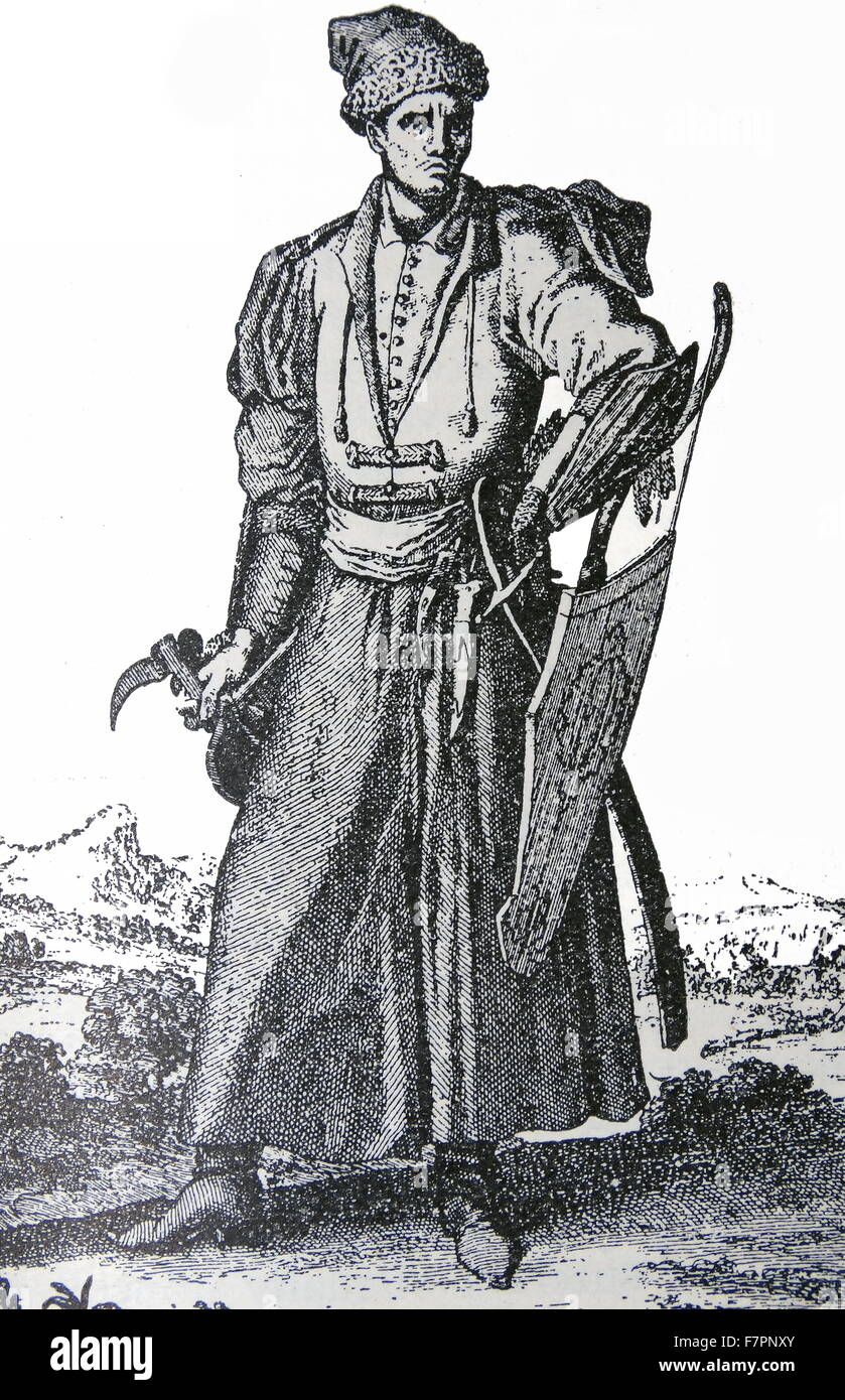Engraving depicting an armed Polish Nobleman. Dated 18th Century - Stock Image