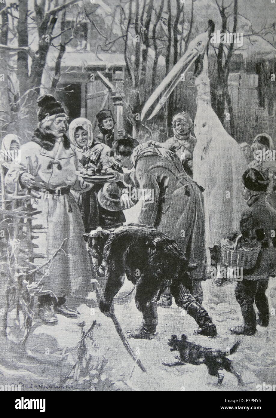 Engraving depicting Christmas in Poland: The Stork as Carol-Singer. Dated 19th Century - Stock Image