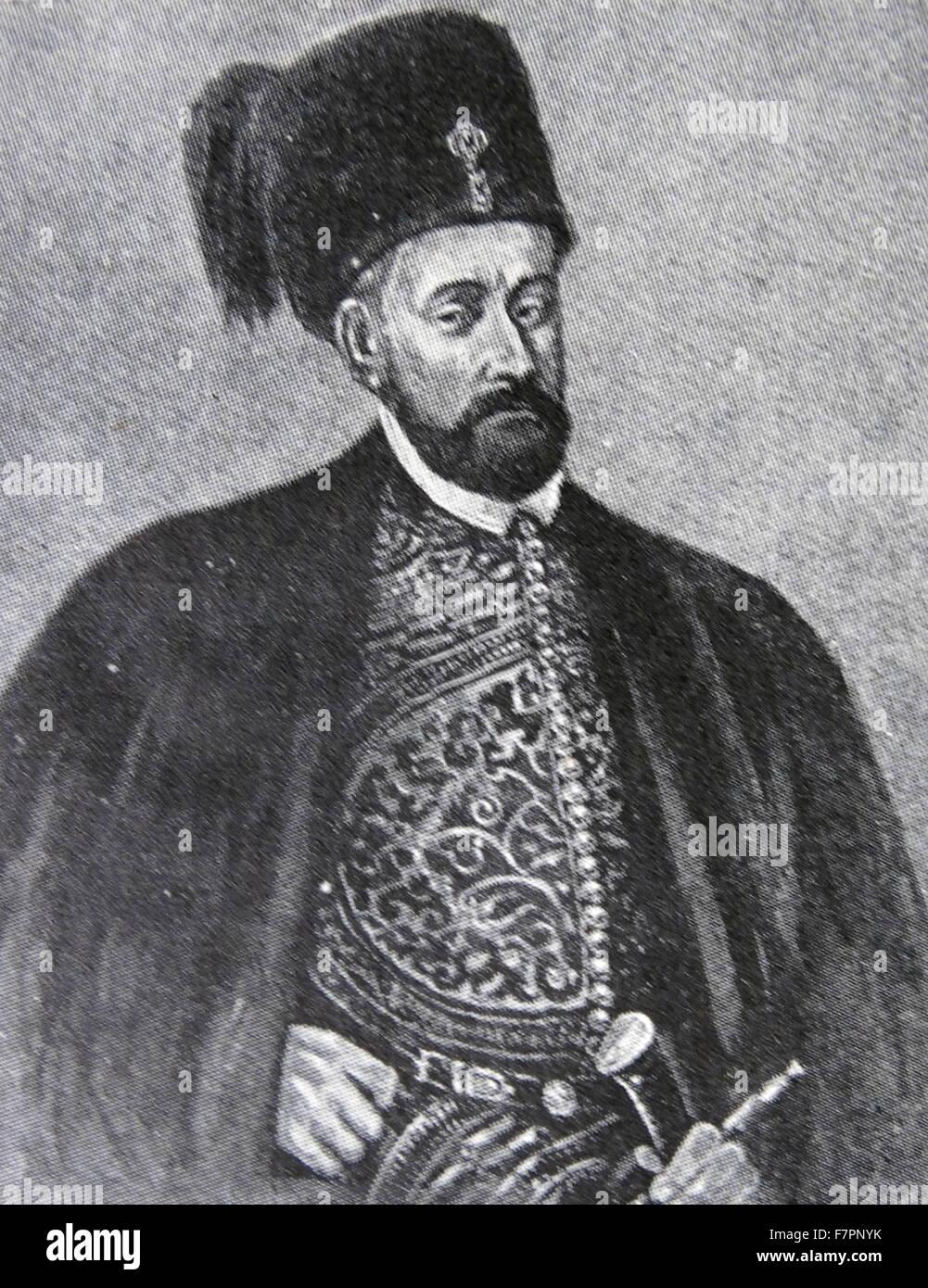 Portrait of Stephen Báthory (1533-1586) Voivode of Transylvania, Prince of Transylvania, from 1576 Queen Anna - Stock Image