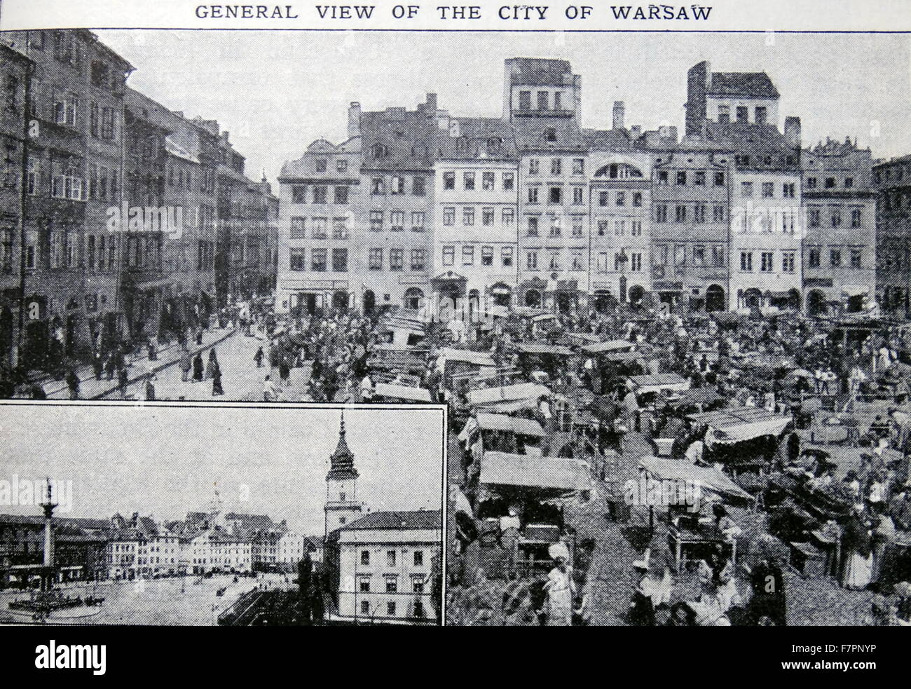 Antique print of the city of Warsaw Poland. Dated 1915 - Stock Image