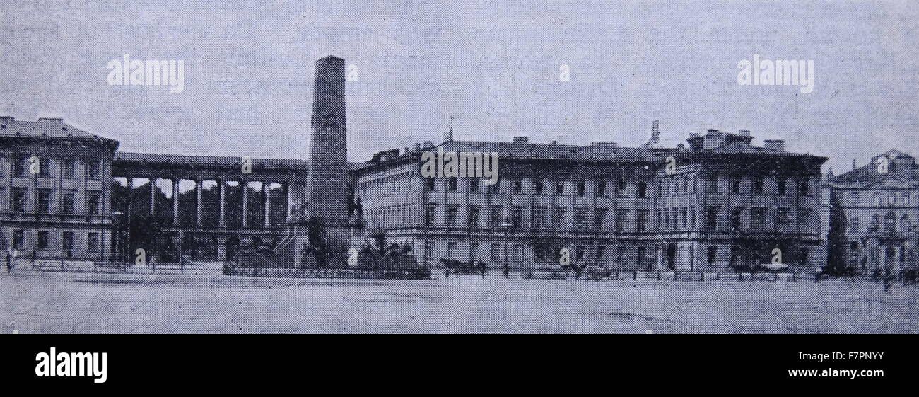 Antique print of the Palace of the Russian Governor, in Warsaw Poland. Dated 1915 - Stock Image