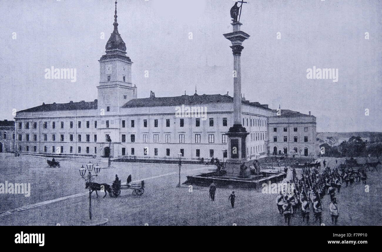 Antique print of the memorial of a lost independence at the Palace of the Kings of Poland at Warsaw. Dated 1915 - Stock Image