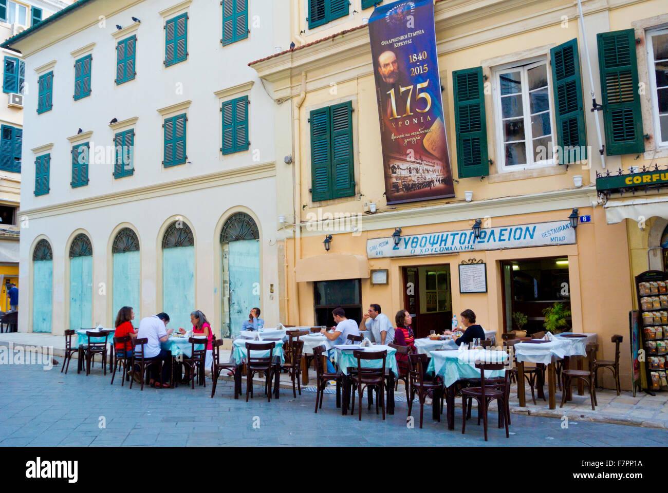 Restaurant, Nikiforou Theotoki street, Old town, Corfu, Ionian islands, Greece - Stock Image