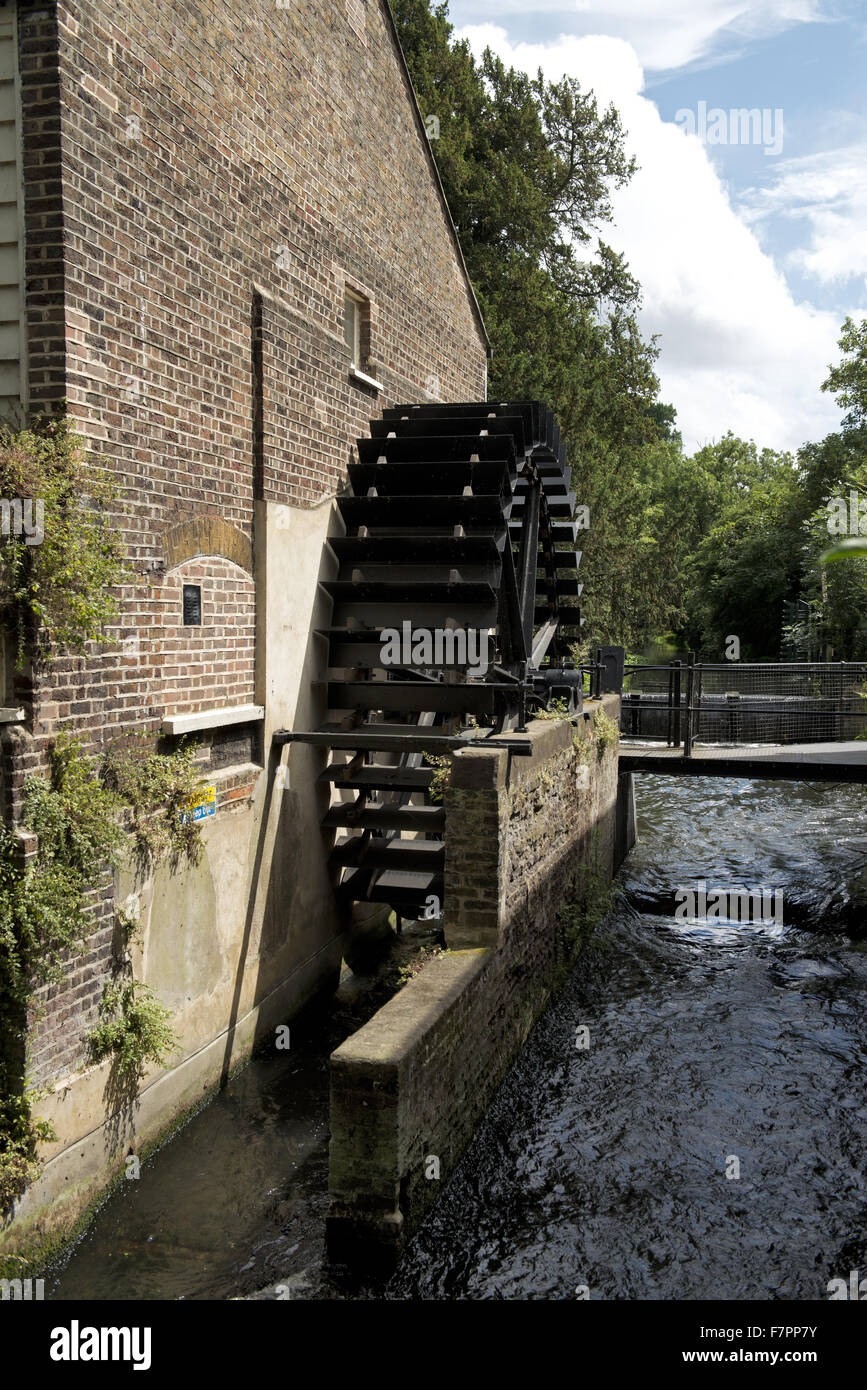 The Snuff Mill waterwheel, Morden Hall Park, London. Snuff production was a major industry on the River Wandle in Stock Photo