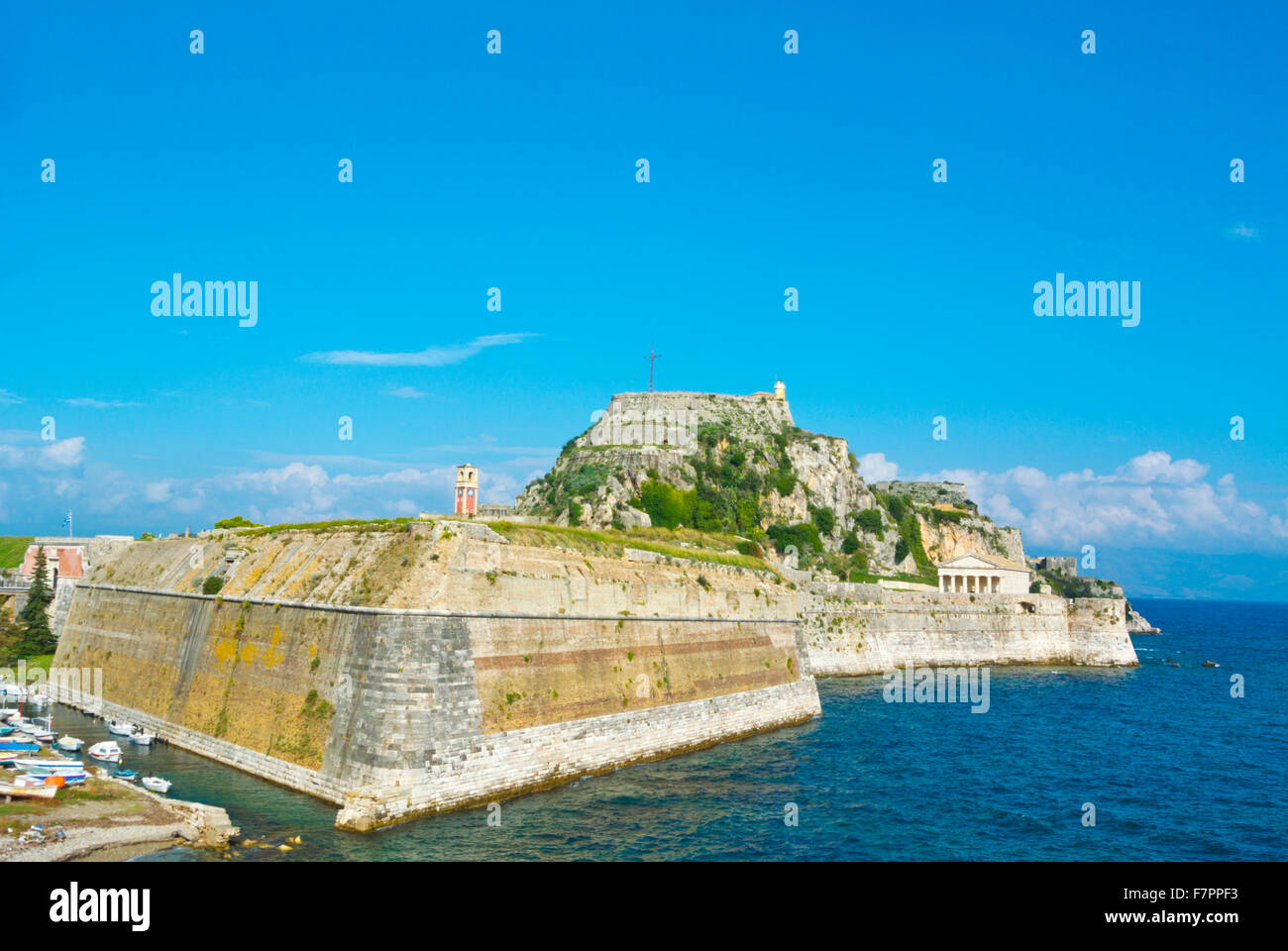 Old Fortress, with Martinengo rampart in front, Corfu town, Ionian islands, Greece - Stock Image