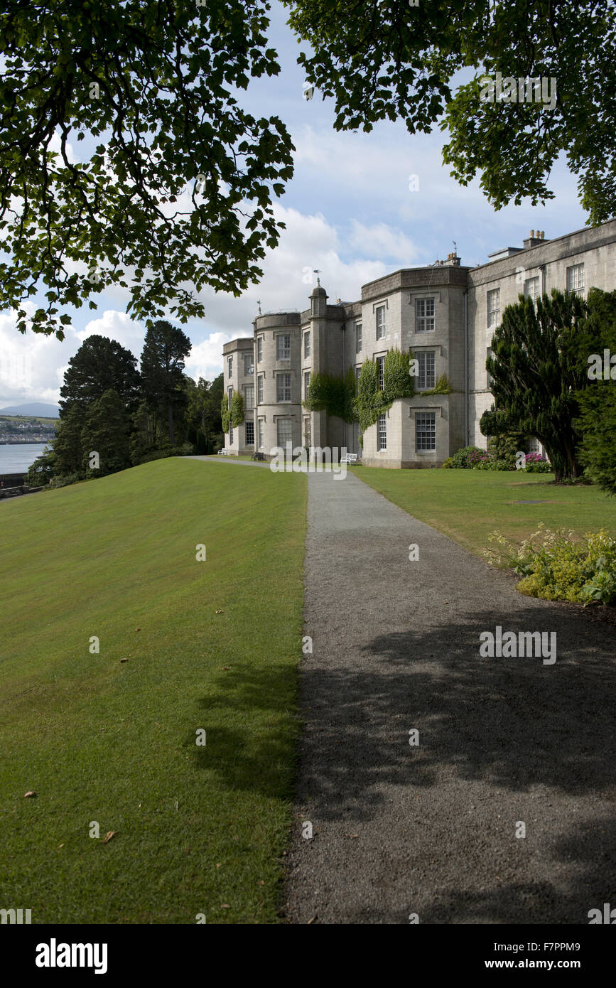 View of the exterior of the house at Plas Newydd Country House and Gardens, Anglesey, Wales. This fine 18th century Stock Photo