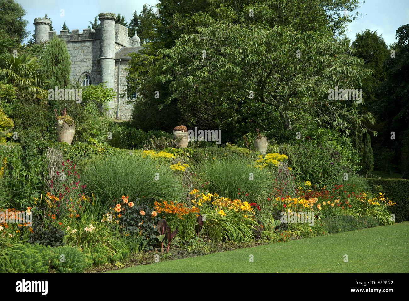The house seen from the garden at Plas Newydd Country House and Gardens, Anglesey, Wales. This fine 18th century - Stock Image