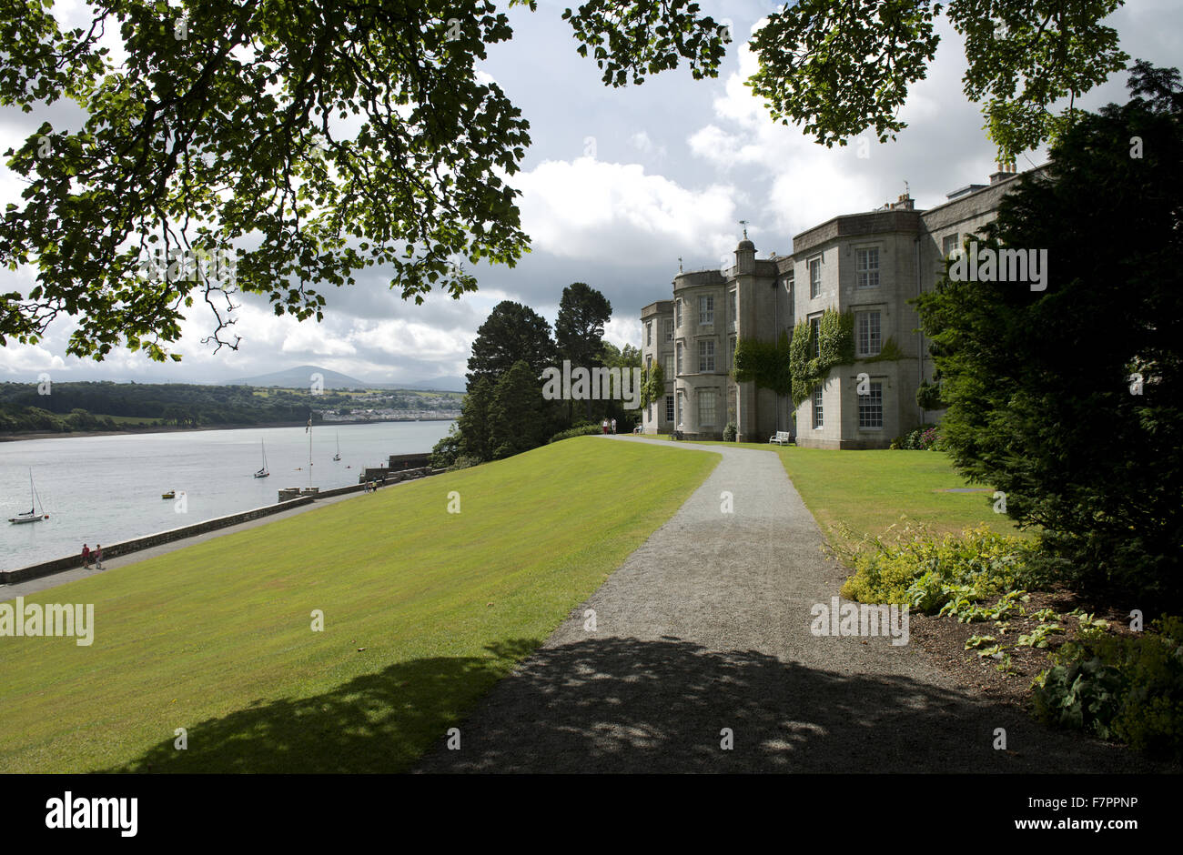An exterior view at Plas Newydd Country House and Gardens, Anglesey, Wales. This fine 18th century mansion sits Stock Photo