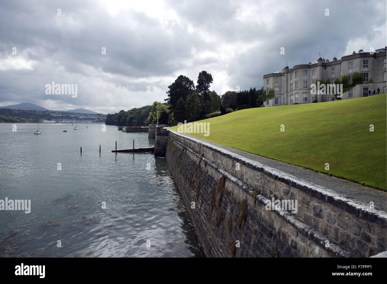 View of the Menai Strait adjacent to Plas Newydd Country House and Gardens, Anglesey, Wales. This fine 18th century Stock Photo