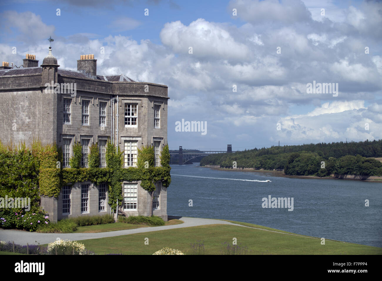 Plas Newydd Country House and Gardens, Anglesey, Wales. This fine 18th century mansion sits on the shores of the - Stock Image