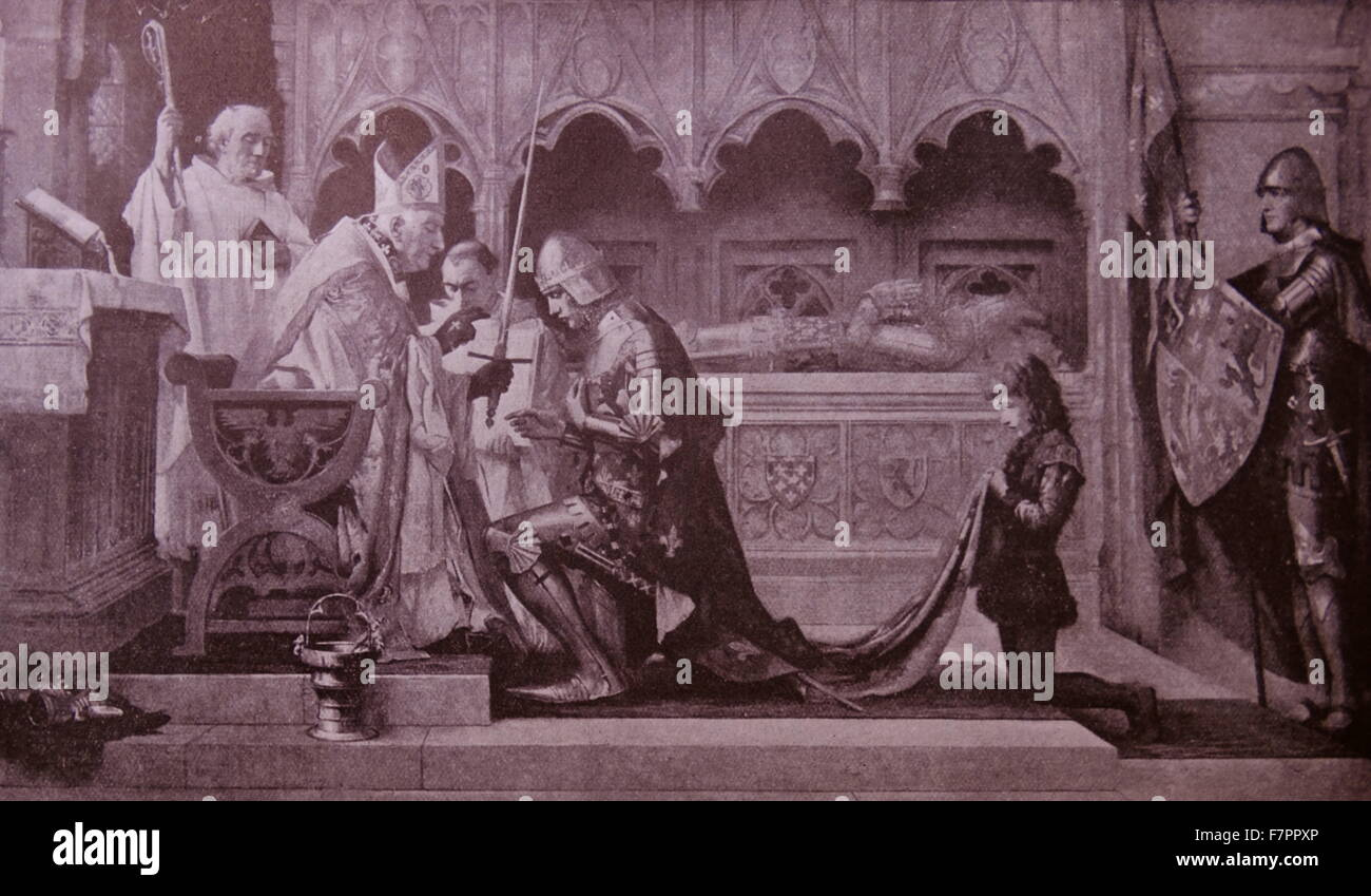Engraving depicting a scene from medieval life. The Church is blessing a young soldier. Dated 11th Century - Stock Image