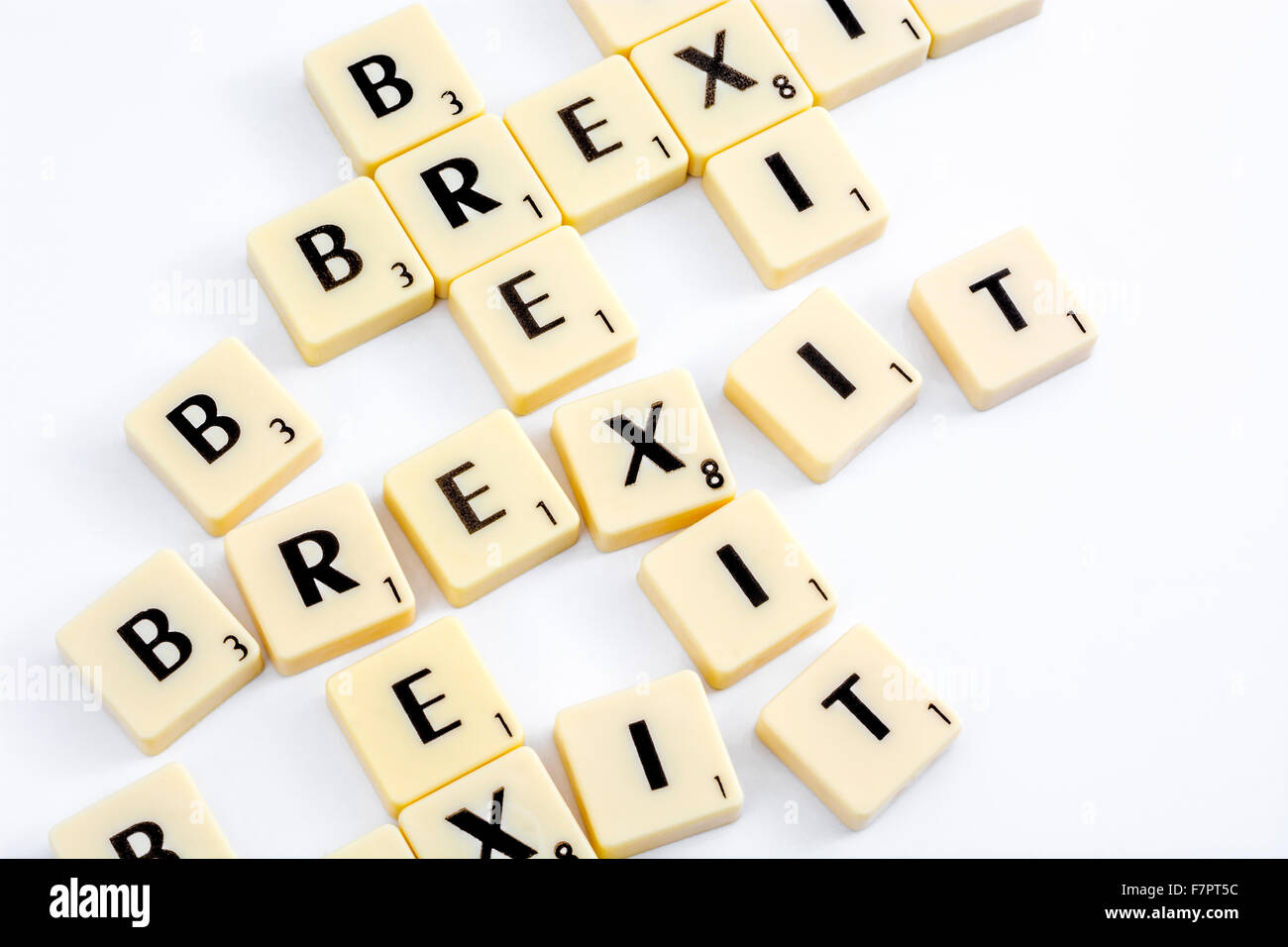 Brexit concept. Scrabble tiles spelling out the word 'Brexit' - the word coined for the UK's possible - Stock Image