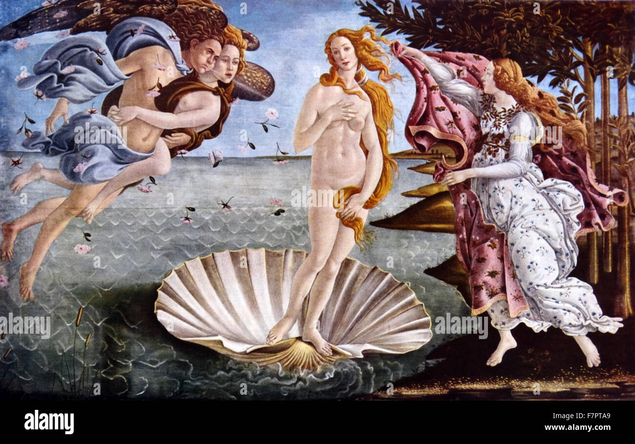 The Birth of Venus by Sandro Botticelli;Italian painter, circa 1445 - 1510. He belonged to the early renaissance, - Stock Image