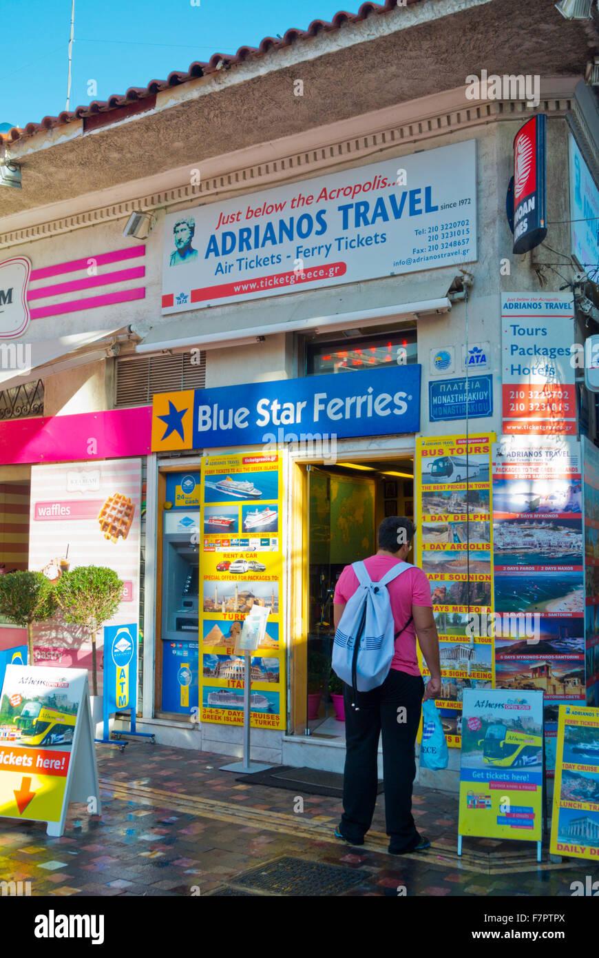 Adrianos Travel, travel agency popular among tourists, Monastiraki square, Athens, Greece - Stock Image
