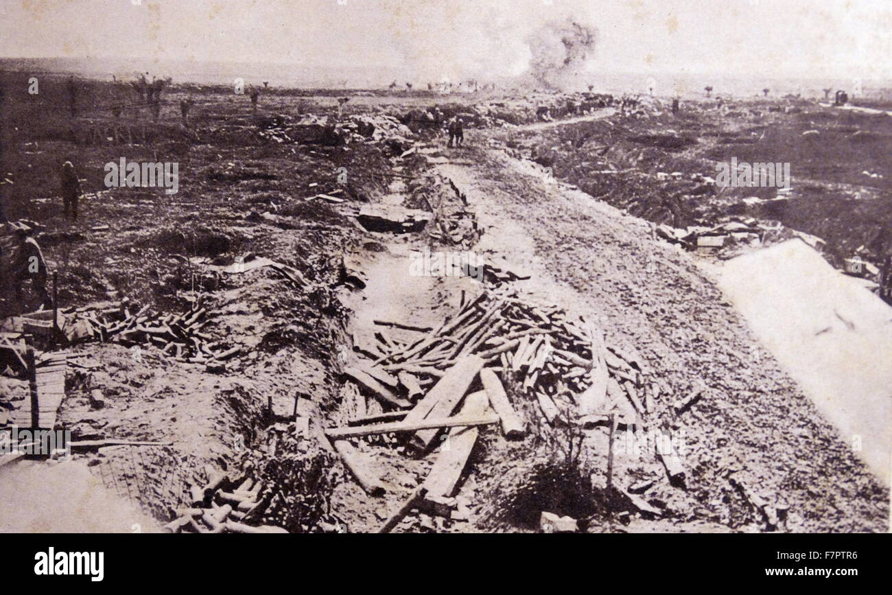 A battlefront during World war One 1916 - Stock Image