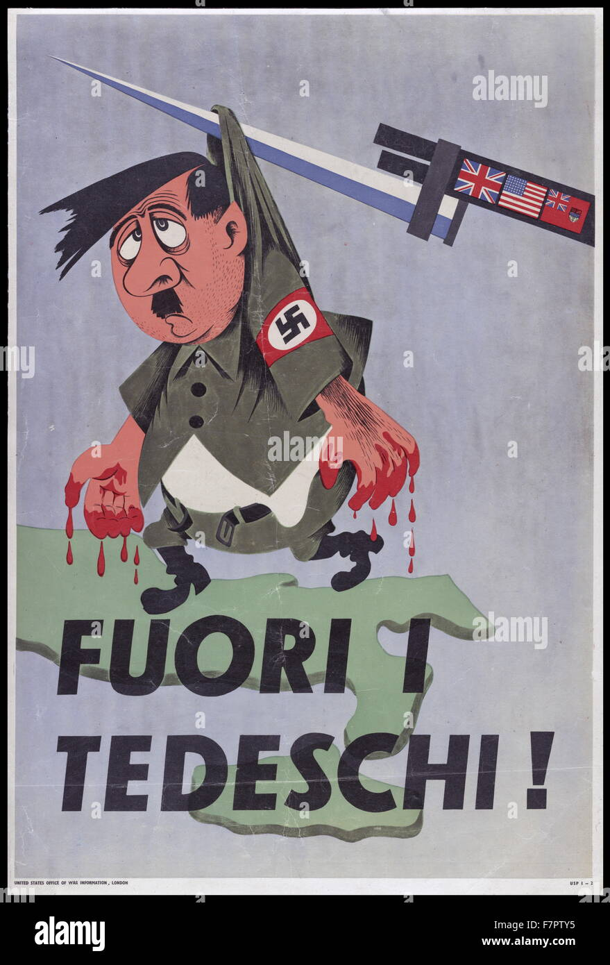 Italian Allied propaganda against the Germans from WWII. Text translates to 'Germans out!'. - Stock Image