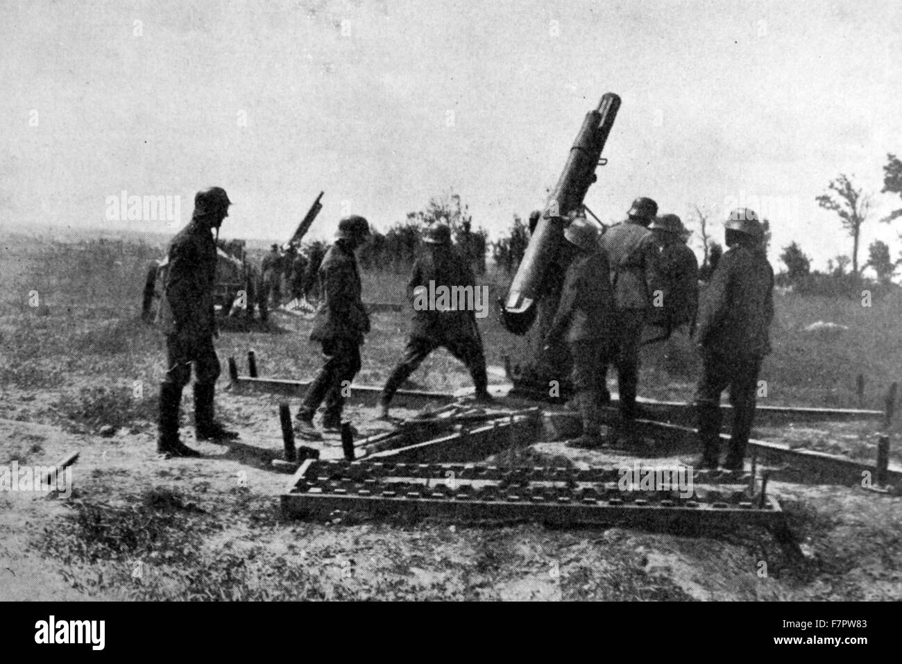 German anti-aircraft battery at the front line, during World war One 1916 - Stock Image